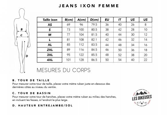 Tableau-jeans-ixon-femme-taille-les-bikeuses