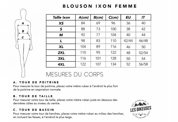 Tableau-blouson-ixon-femme-taille-les-bikeuses