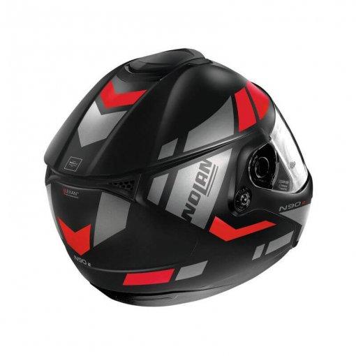 casque-modulable-nolan-n90-euclid-rouge-noir-gris-cote